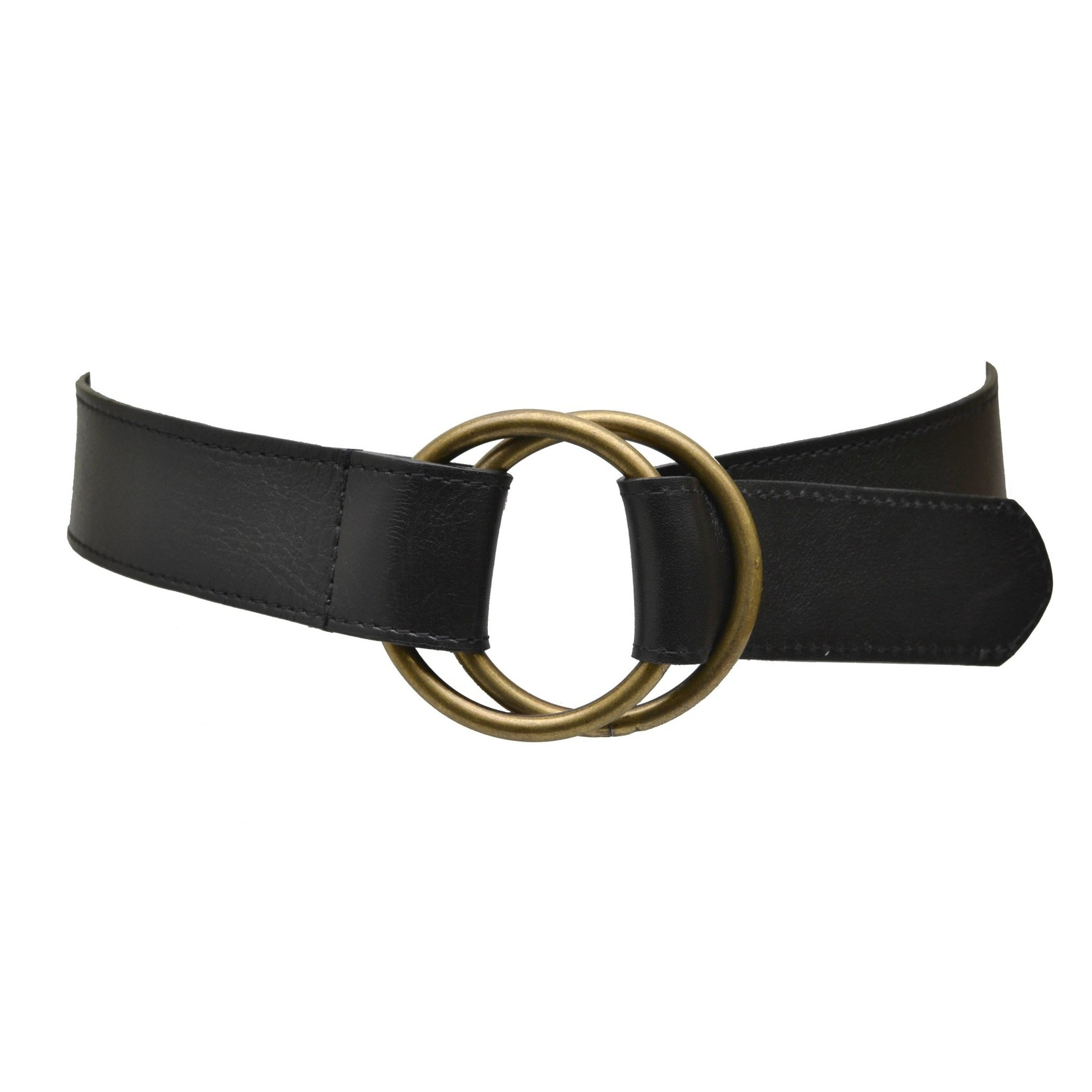ADA Josie Double Ring Leather Belt in Black
