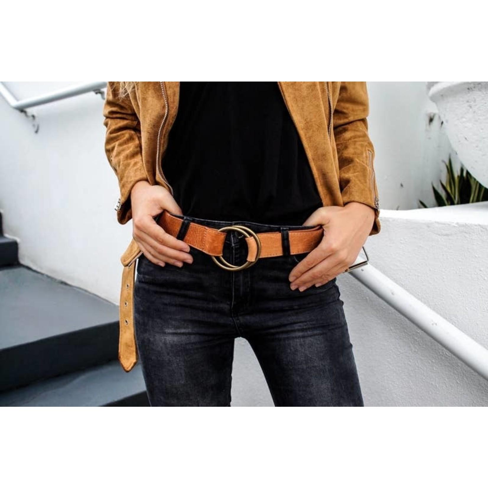 ADA Josie Double Ring Leather Belt in Cognac