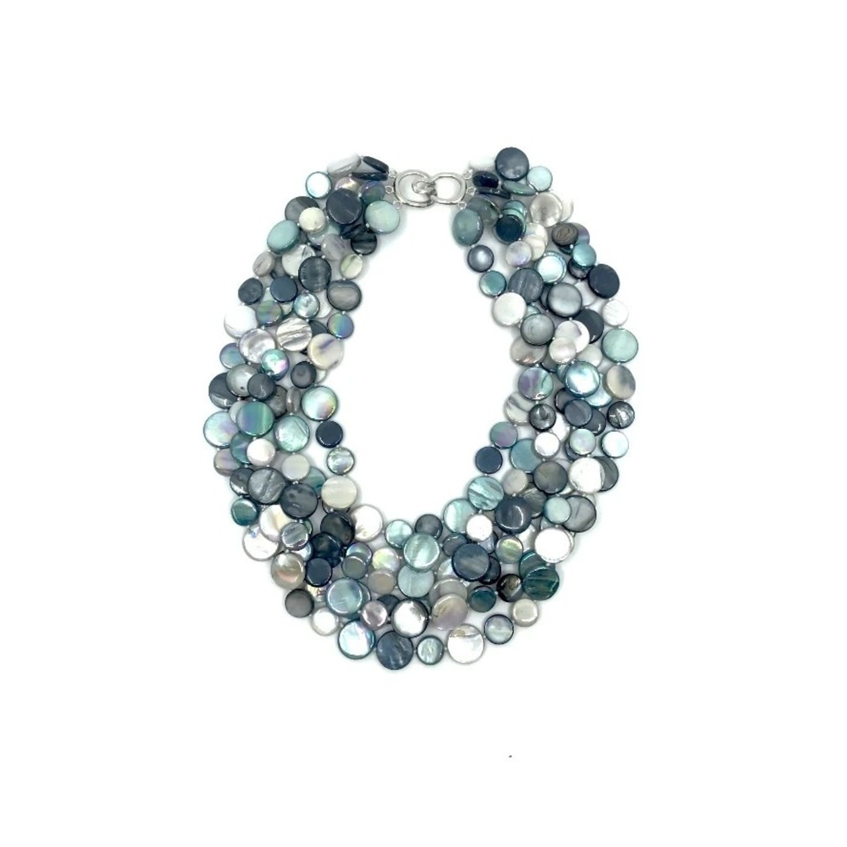 Sea Lily Turquoise Gray & Black 5 Strand Mother of Pearl Necklace