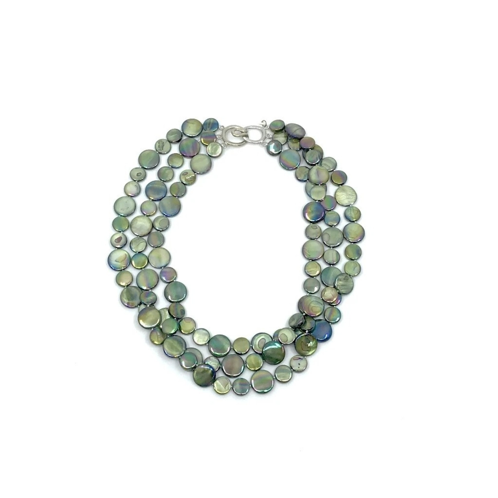 Sea Lily Moss 3 Strand Mother of Pearl Necklace