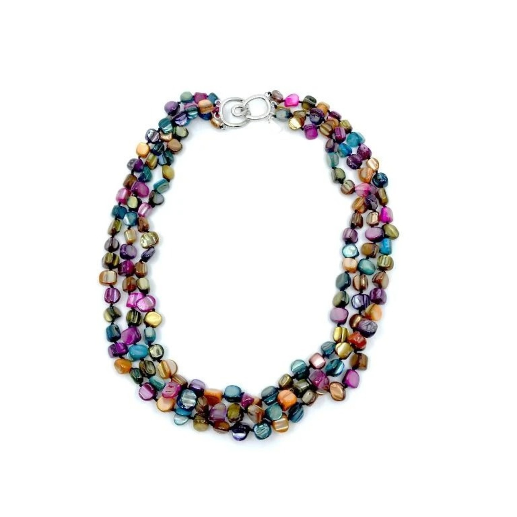 Sea Lily 3 Strand Multi Color Mother of Pearl Necklace