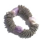 Sea Lily Spring Ring Bracelet w/ Raw Amethyst