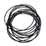 Sea Lily Black Piano Wire Bracelet w/ Silver Beads