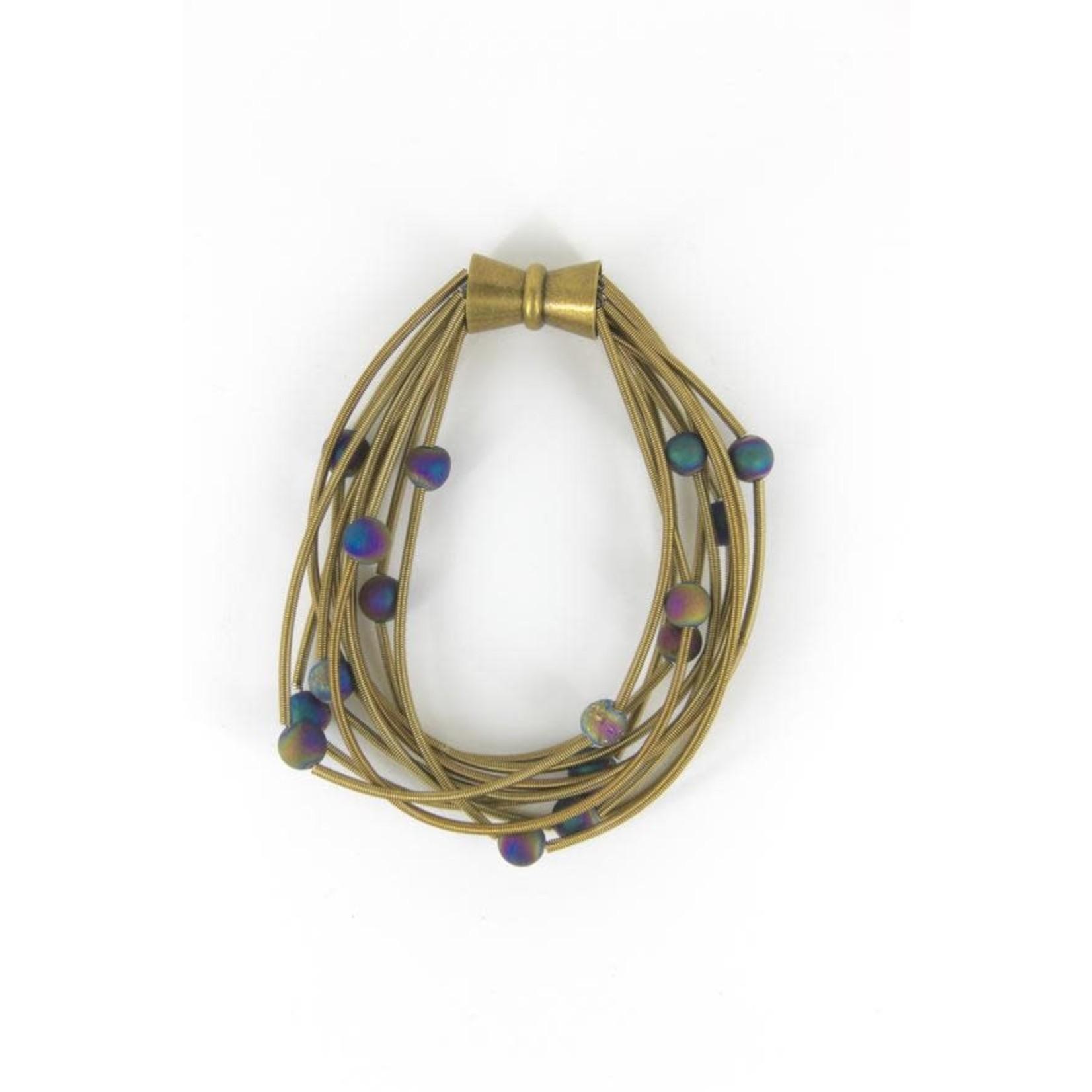 Sea Lily 10 Layer Bronze Bracelet w/ Iridescent Geodes