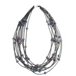 Sea Lily 10 Layer Slate Necklace w/ Iridescent Geodes