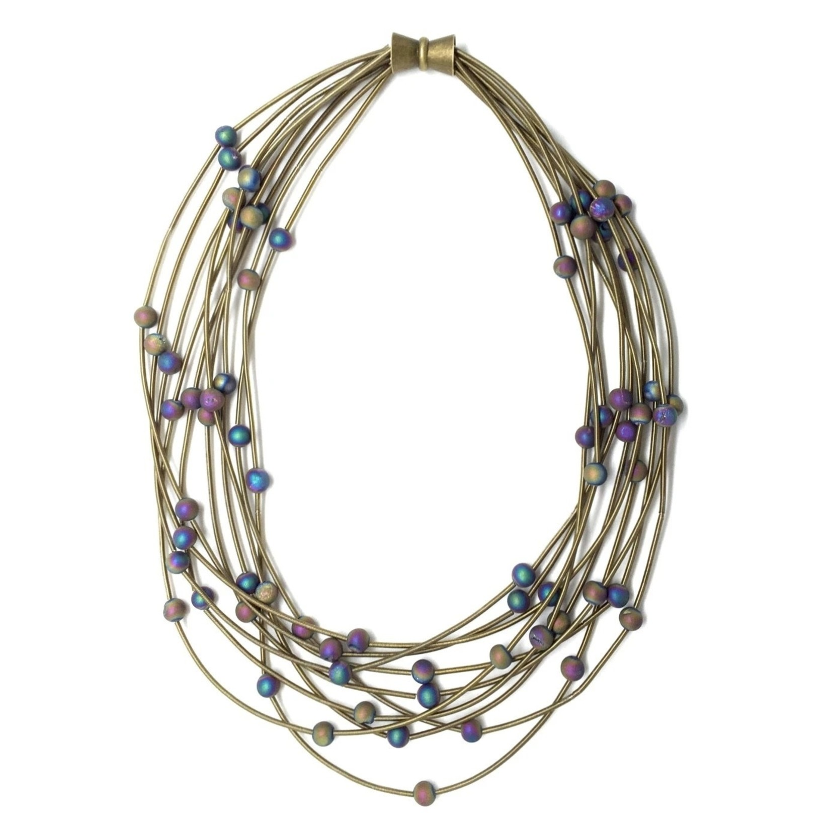Sea Lily 10 Layer Bronze Necklace w/ Iridescent Geodes