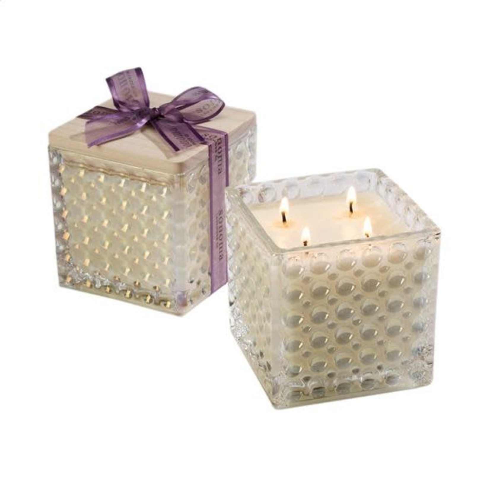 Sonoma Lavender Lavender Scented Ivory Soy Candle in Decorative Glass