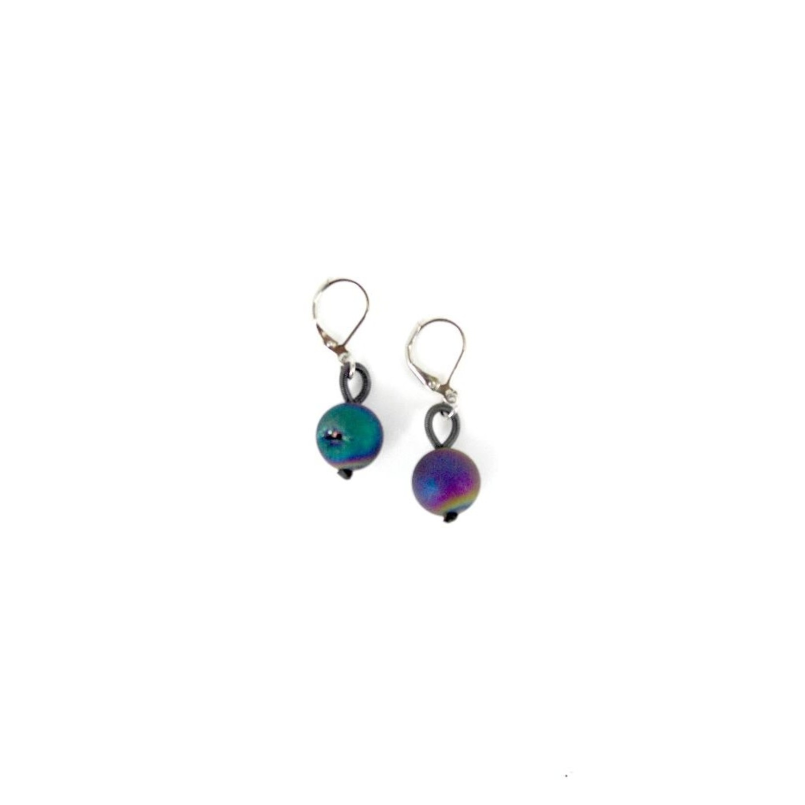 Sea Lily Slate Piano Wire Earrings w/ Iridescent Geodes