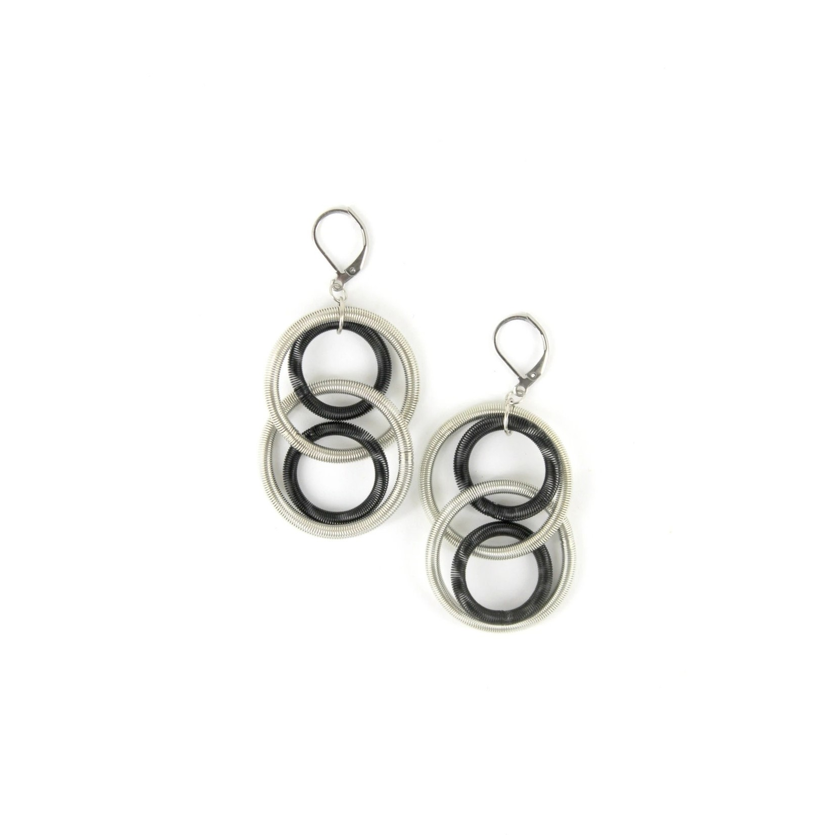 Sea Lily Silver/Black Large Loop Piano Wire Earrings