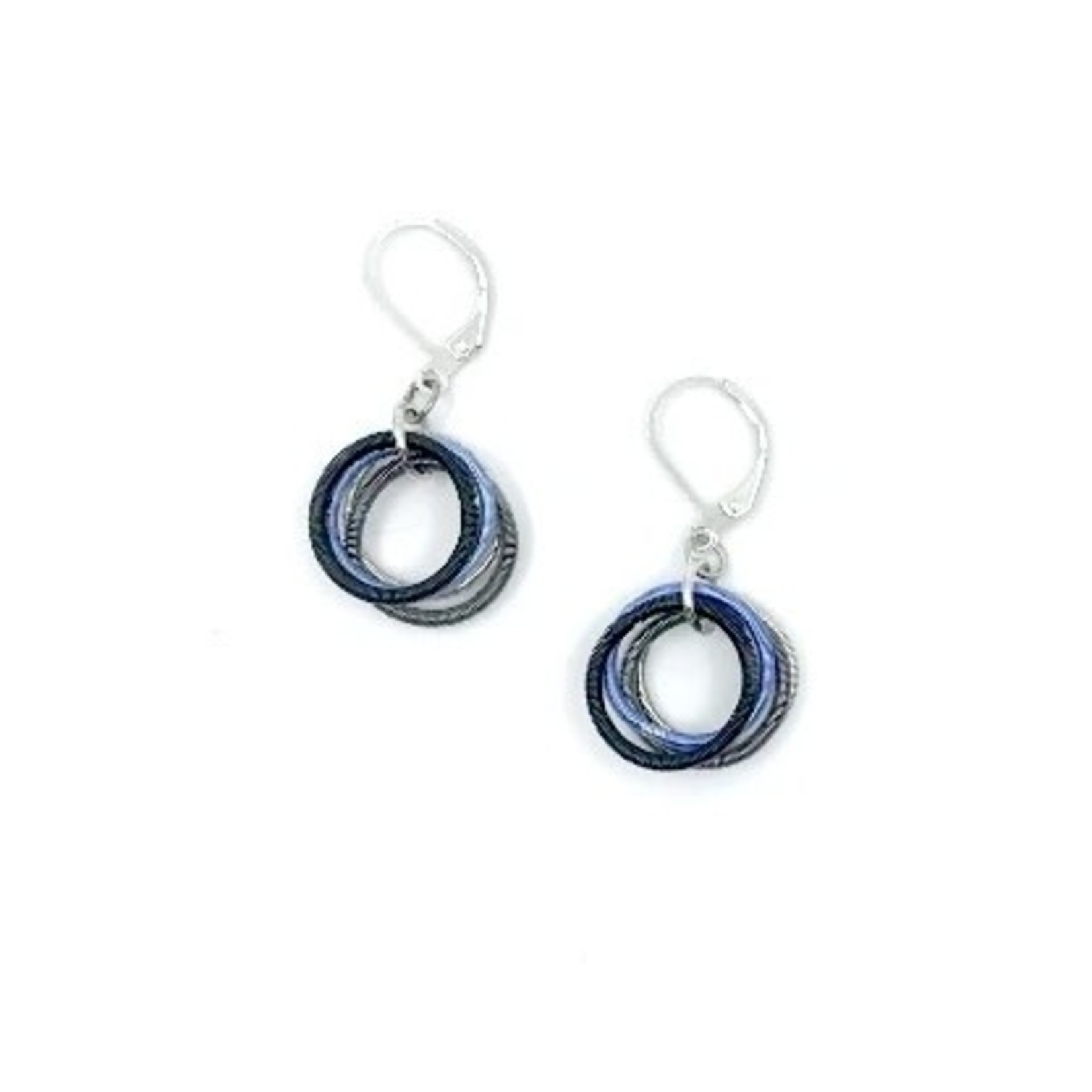Sea Lily Blue/Black/Silver Piano Wire Loop Earrings