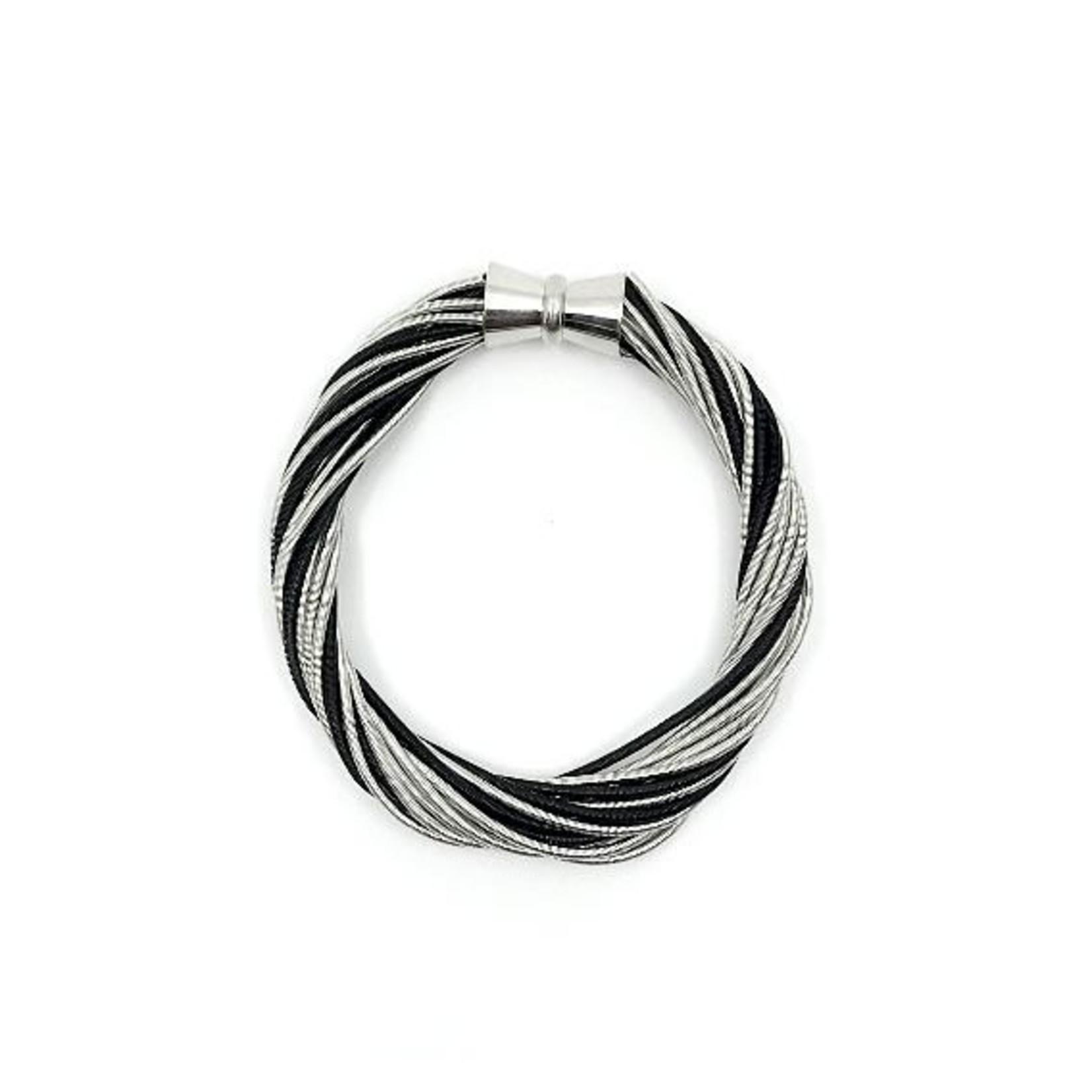 Sea Lily Silver/Black Piano Wire Twist Bracelet