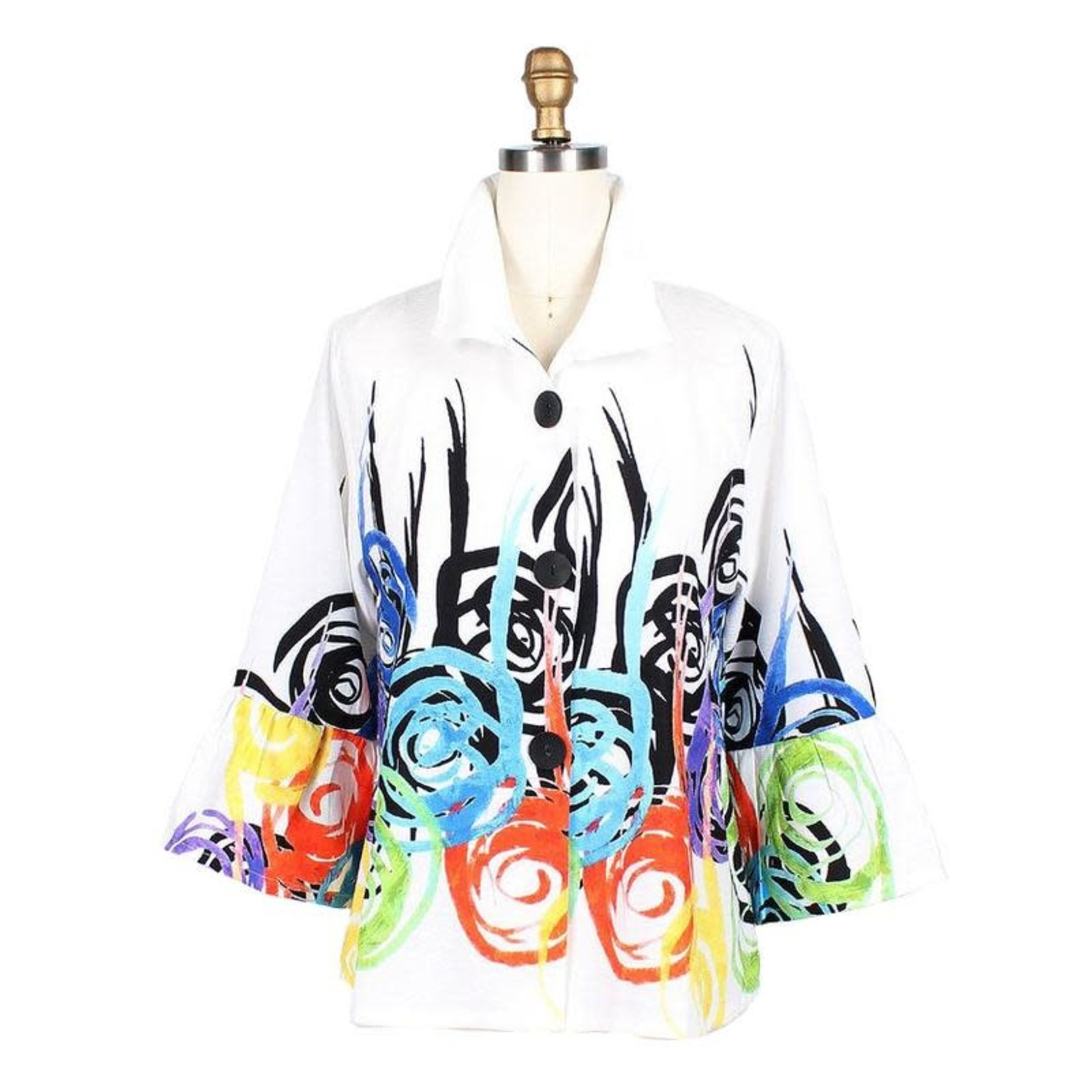 Damee White and Multi-Color Swirl and Twirl Short Jacket