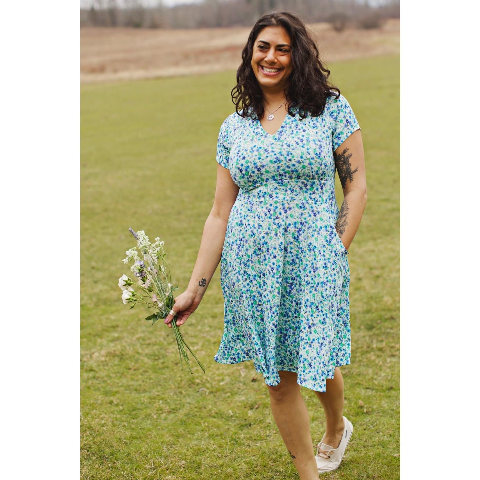Karina Cece Short Sleeve Dress in Sky Meadow