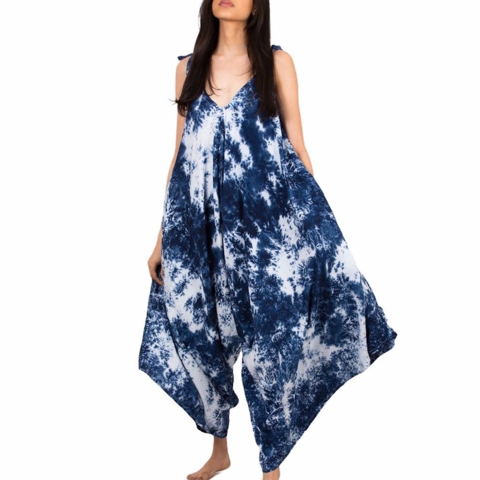 Suzie Blue Canada Blue Splash Motif Tie Dye Romper O/S