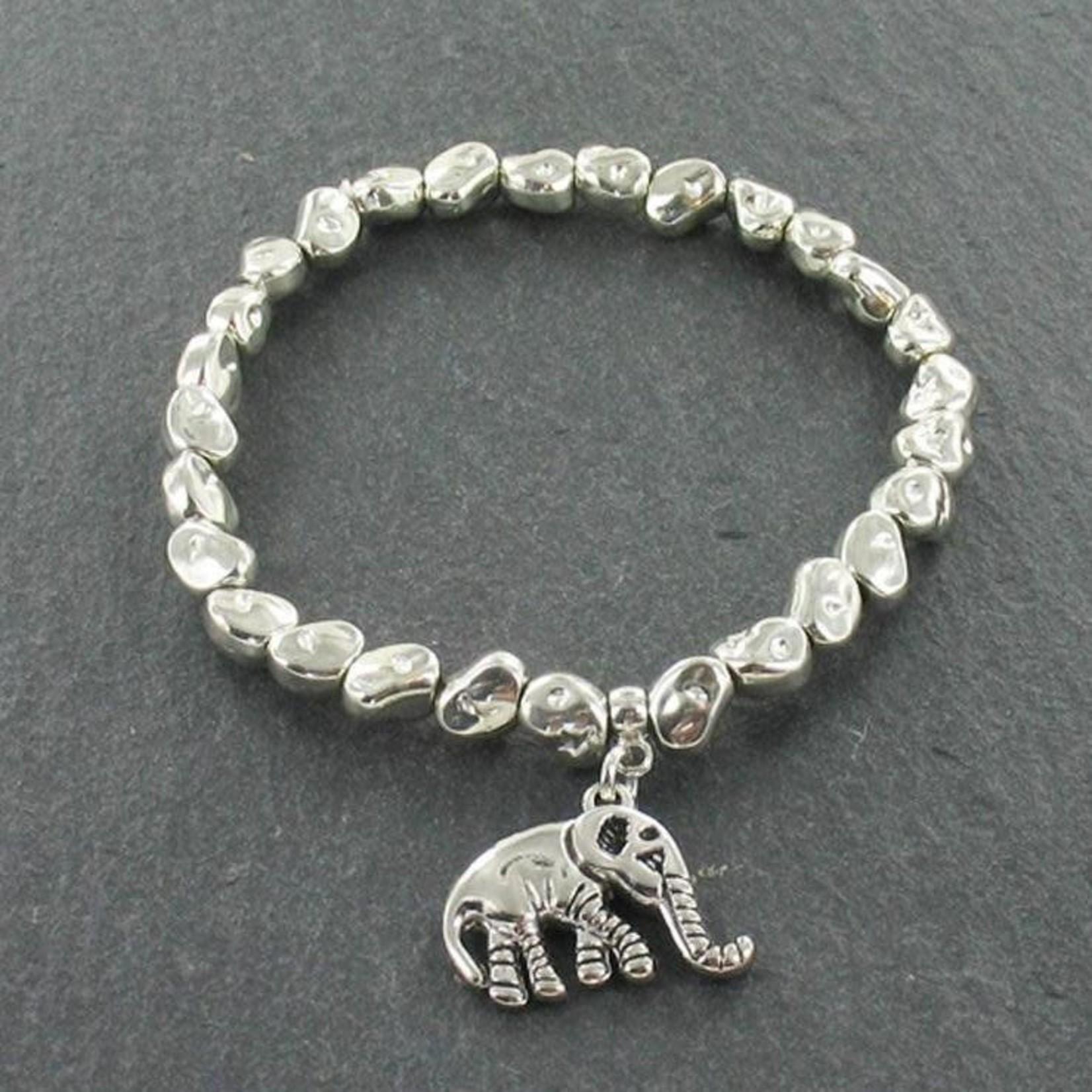 Suzie Blue Canada Silver Plated Elephant Charm Nugget Bracelet