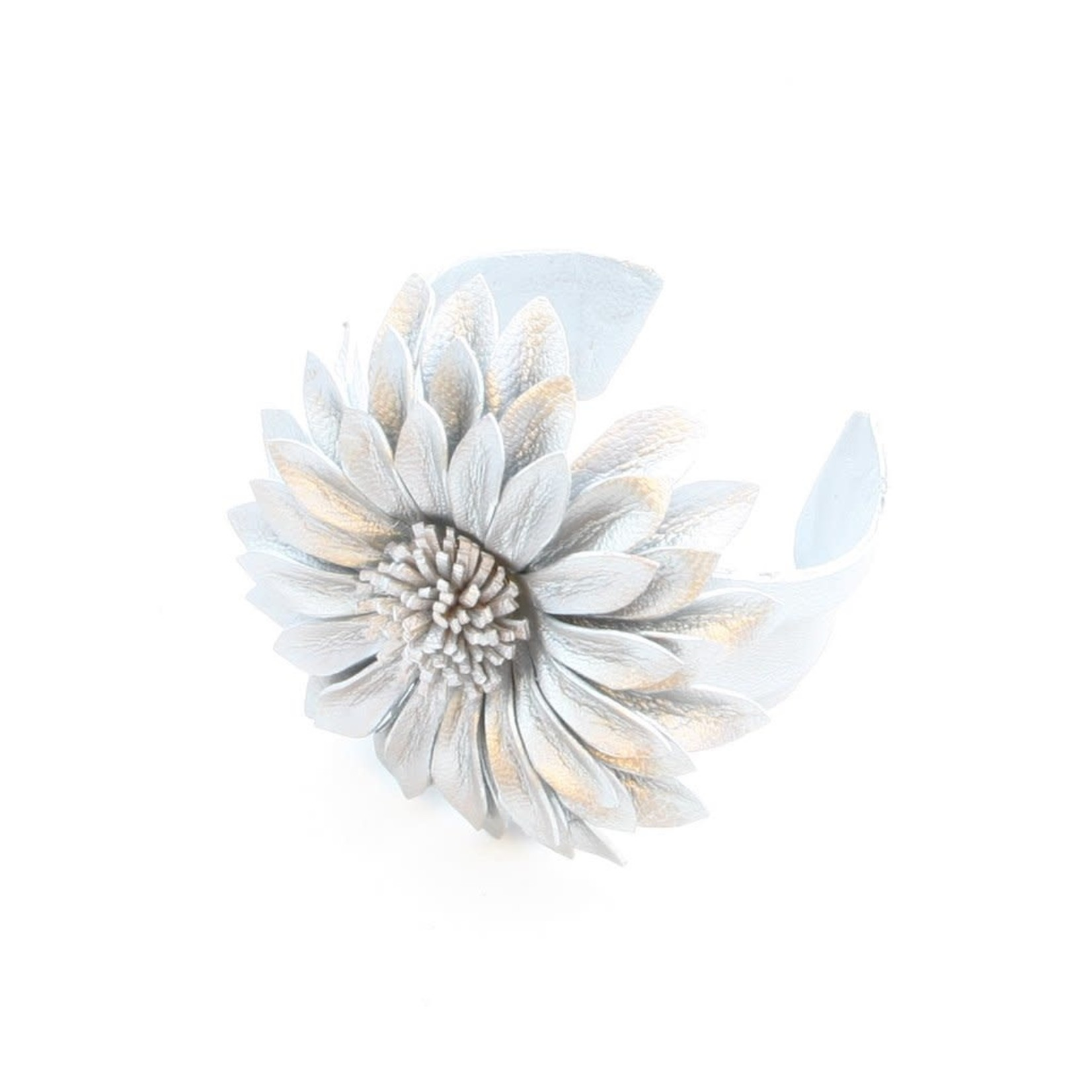 Suzie Blue Canada Leather Flower Cuff in Grey