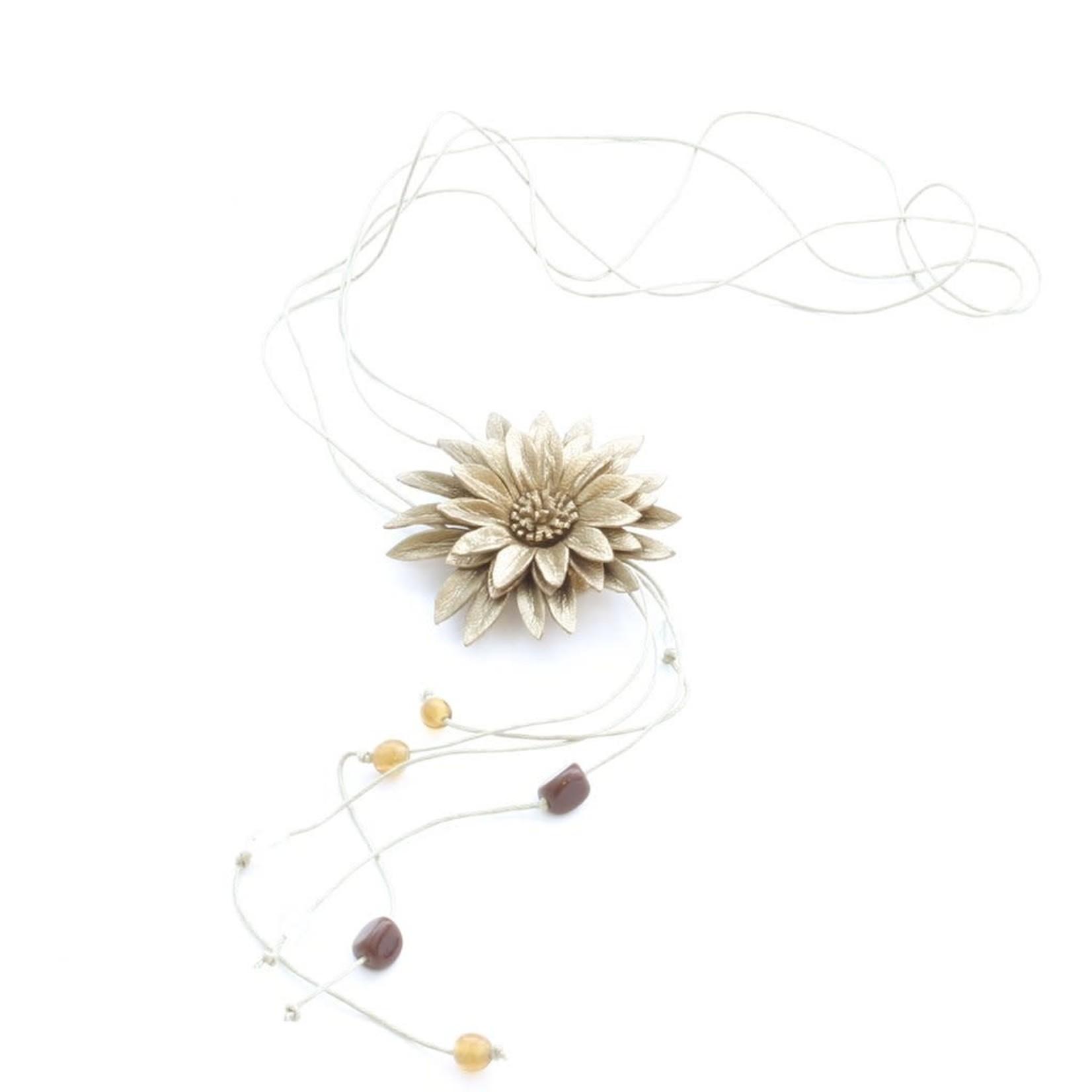 Suzie Blue Canada Leather Flower Necklace in Bronze