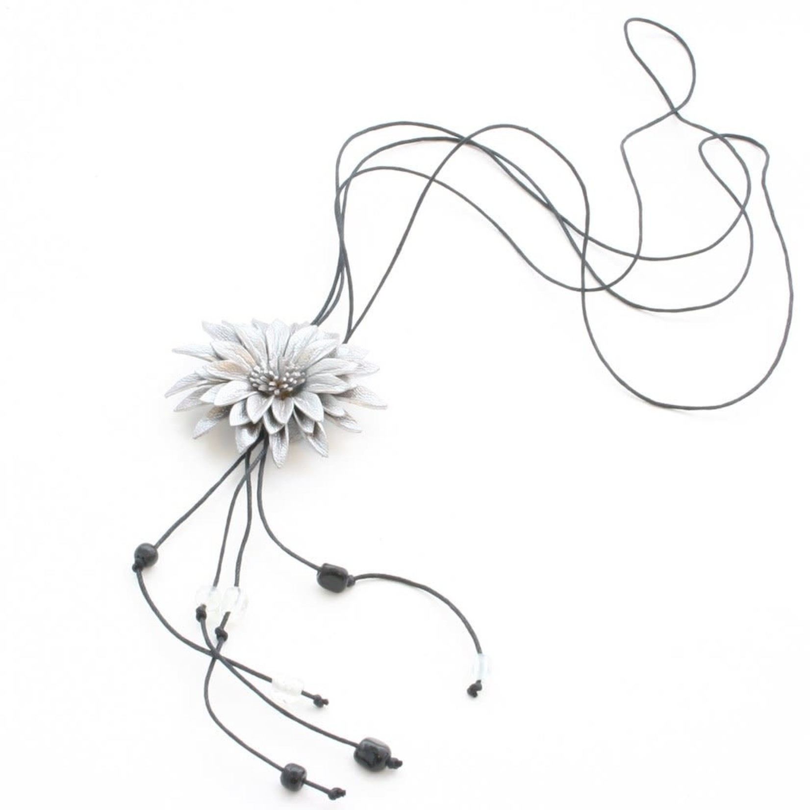 Suzie Blue Canada Leather Flower Necklace in Grey