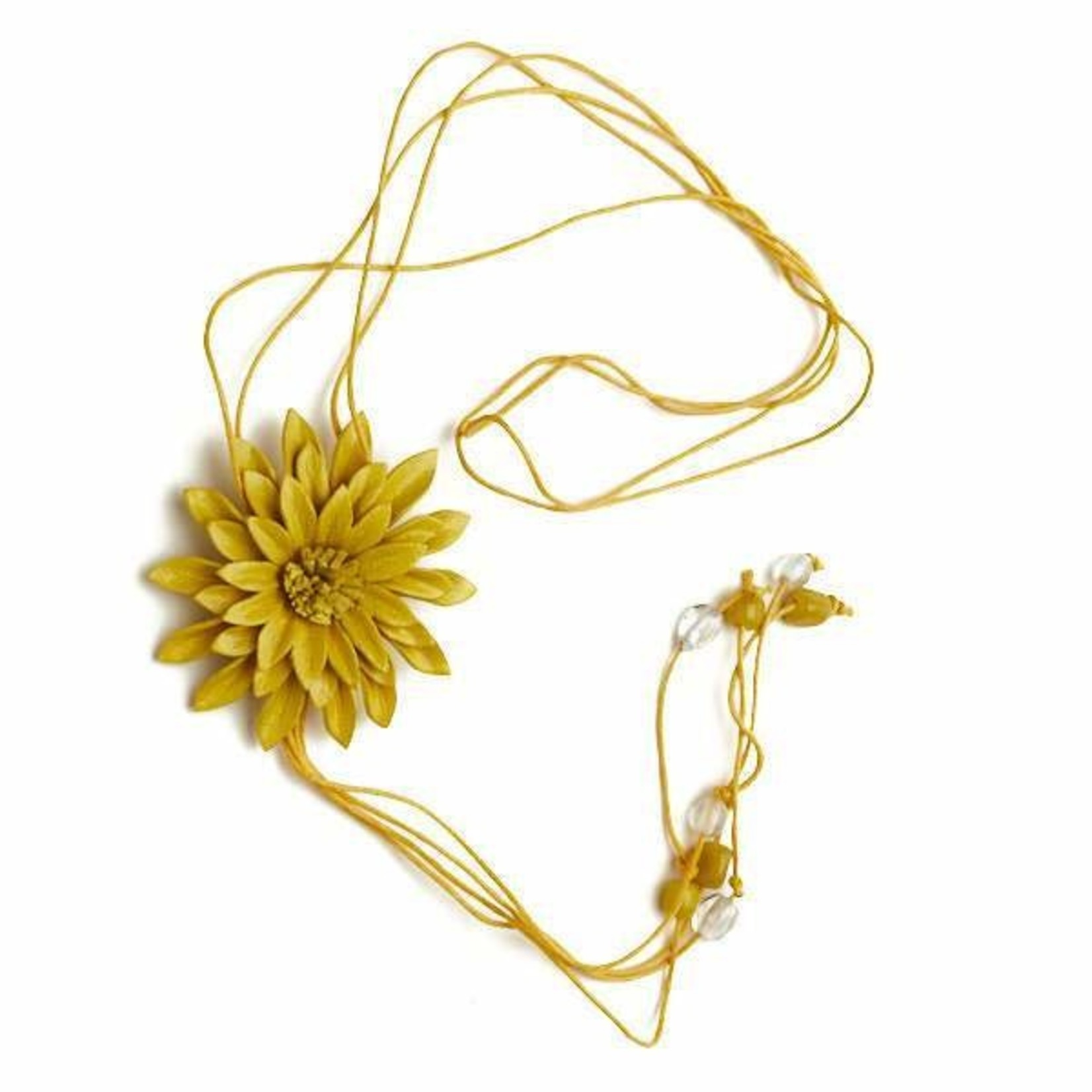 Suzie Blue Canada Leather Flower Necklace in Mustard