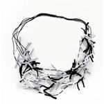 Suzie Blue Canada Multi-color Fabric Tie Necklace in Black and White