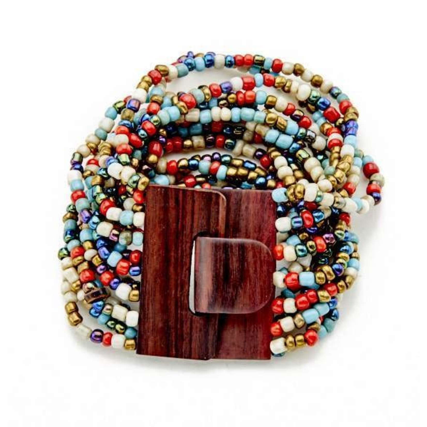 Suzie Blue Canada Multi-strand Bracelet w/ Wooden Clasp in Multi