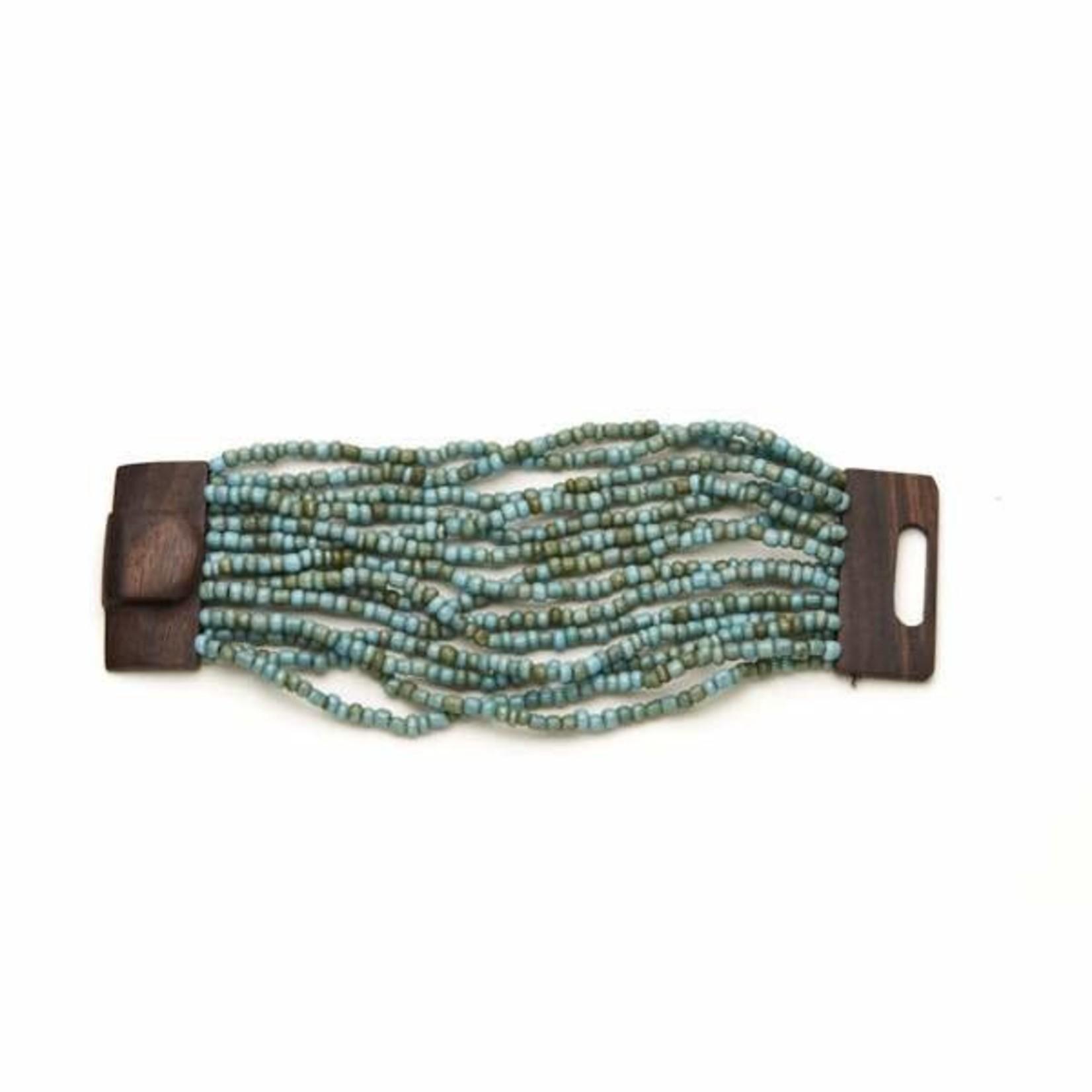 Suzie Blue Canada Multi-strand Bracelet w/ Wooden Clasp in Turquoise