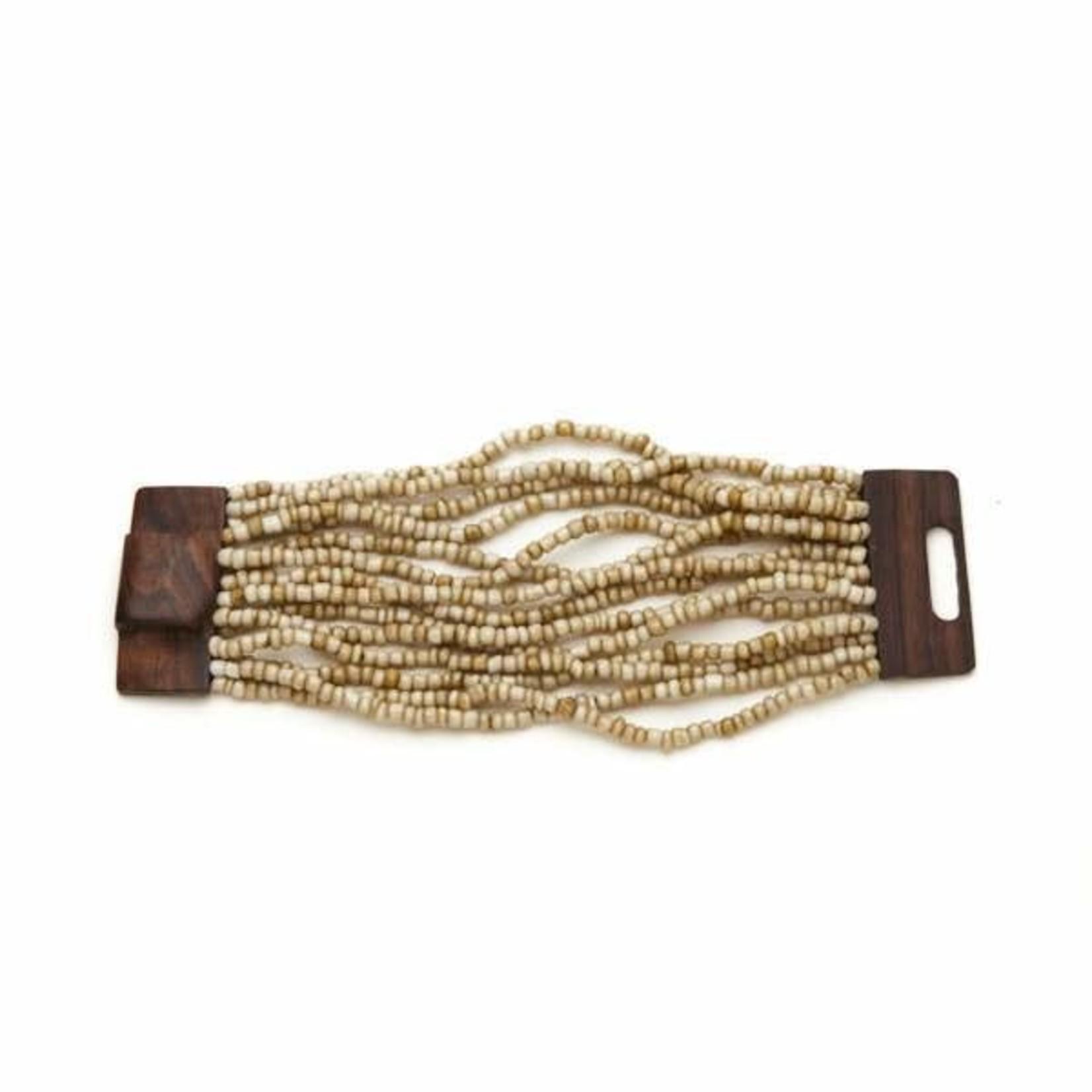 Suzie Blue Canada Multi-strand Bracelet w/ Wooden Clasp in Cream