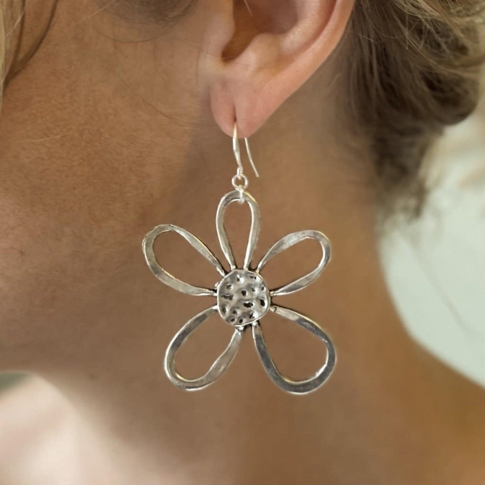 Suzie Blue Canada Open Flower Earrings in Silver Plate