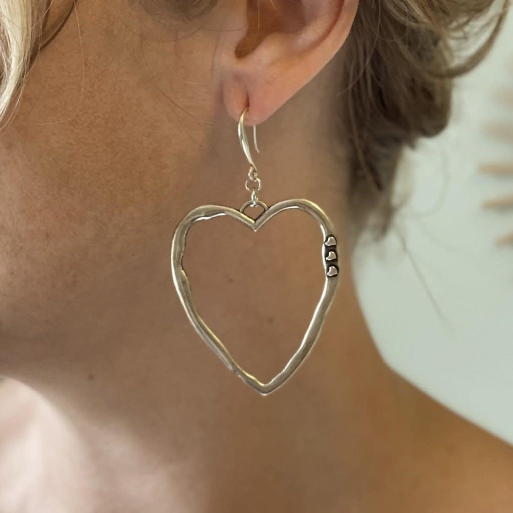 Suzie Blue Canada Open Heart Earrings in Silver Plate