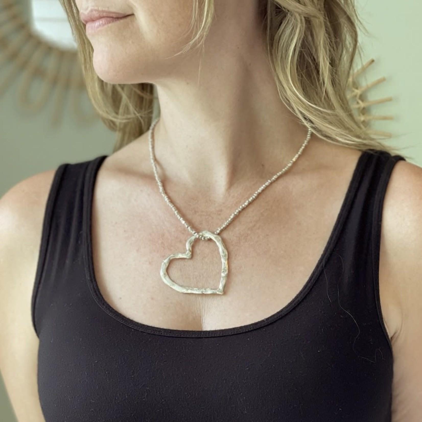 Suzie Blue Canada Open Heart Necklace in Silver Plate