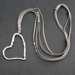 Suzie Blue Canada Grey Suede Necklace w/ Offset Open Heart Pendant