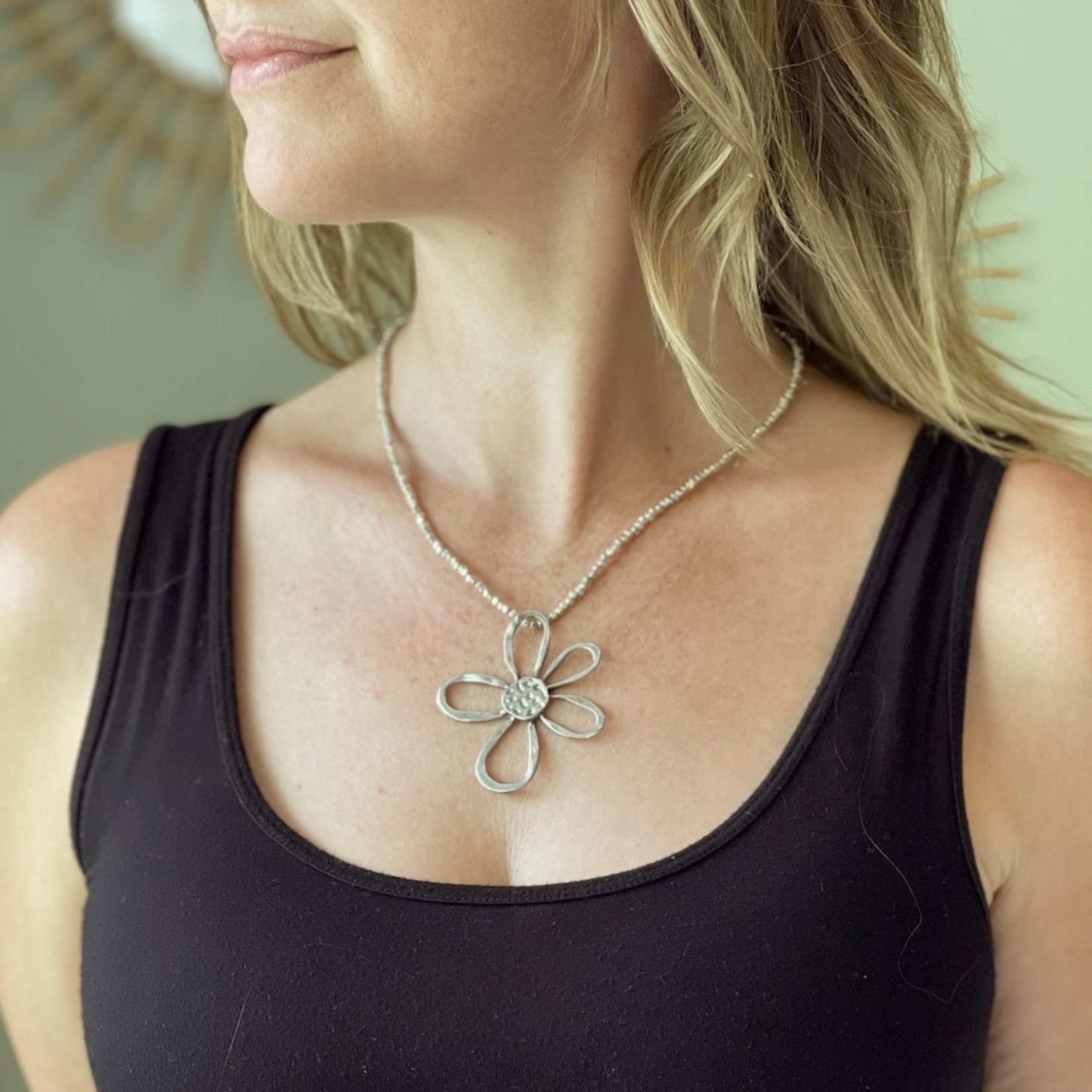 Suzie Blue Canada Open Flower Necklace in Silver Plate
