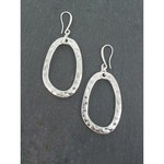 Suzie Blue Canada Large Oval Earring in Silver Plate