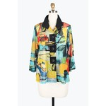 Damee Multi-color Sheer Abstract Tropical Paint Jacket