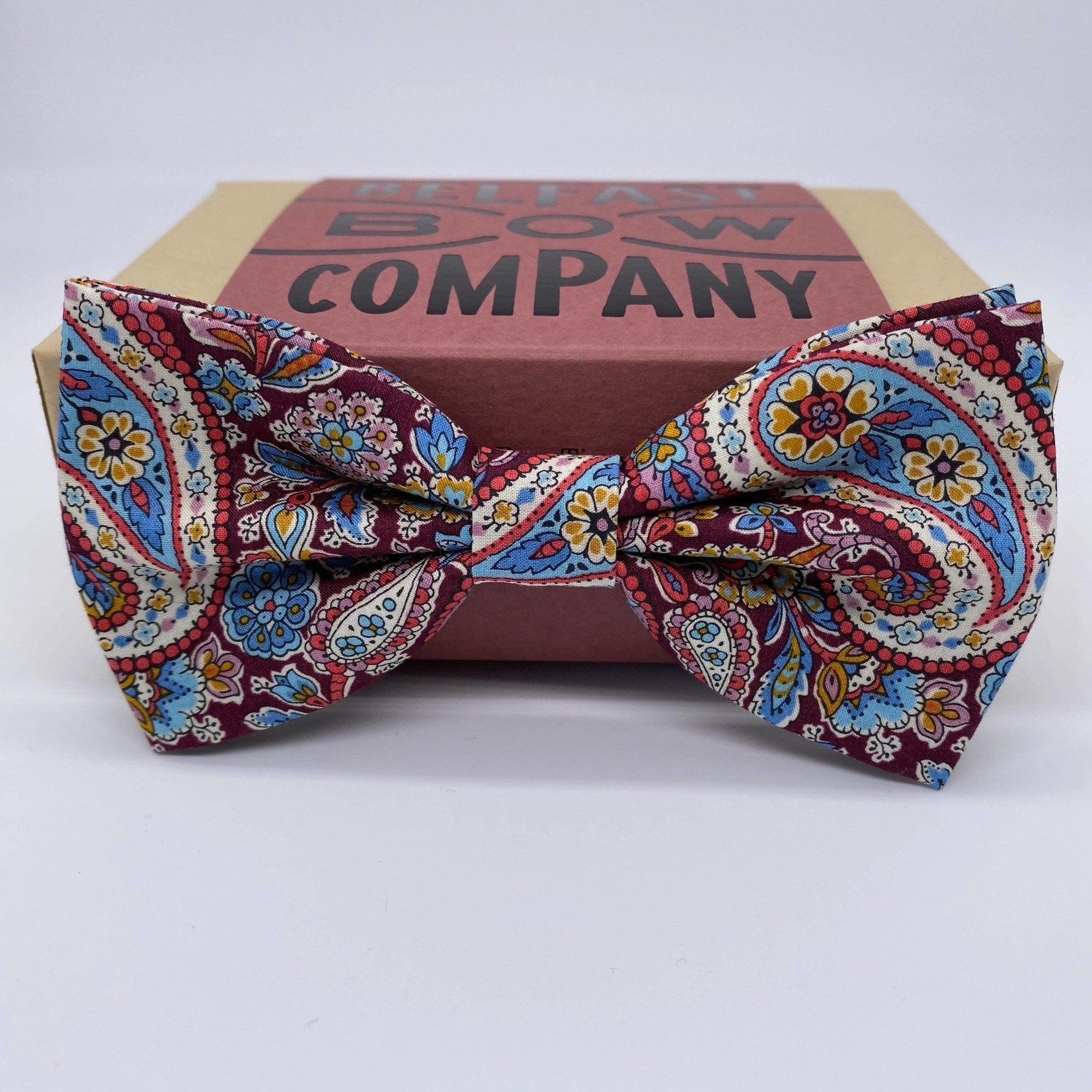 Belfast Bow Company Bow Tie in Liberty of London Burgundy Paisley