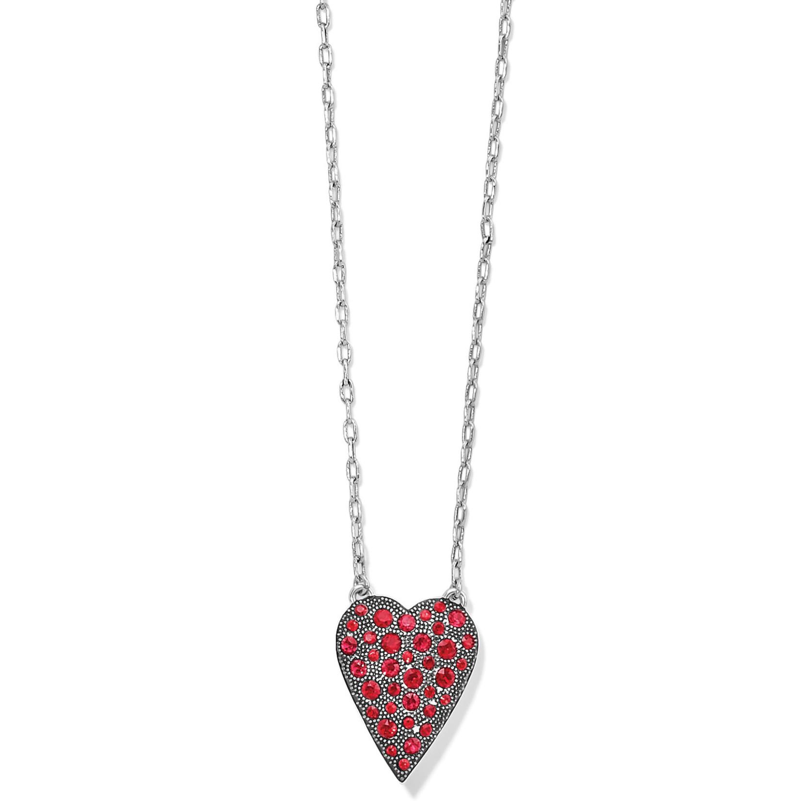 Brighton Glisten Heart Petite Necklace - Silver-Red