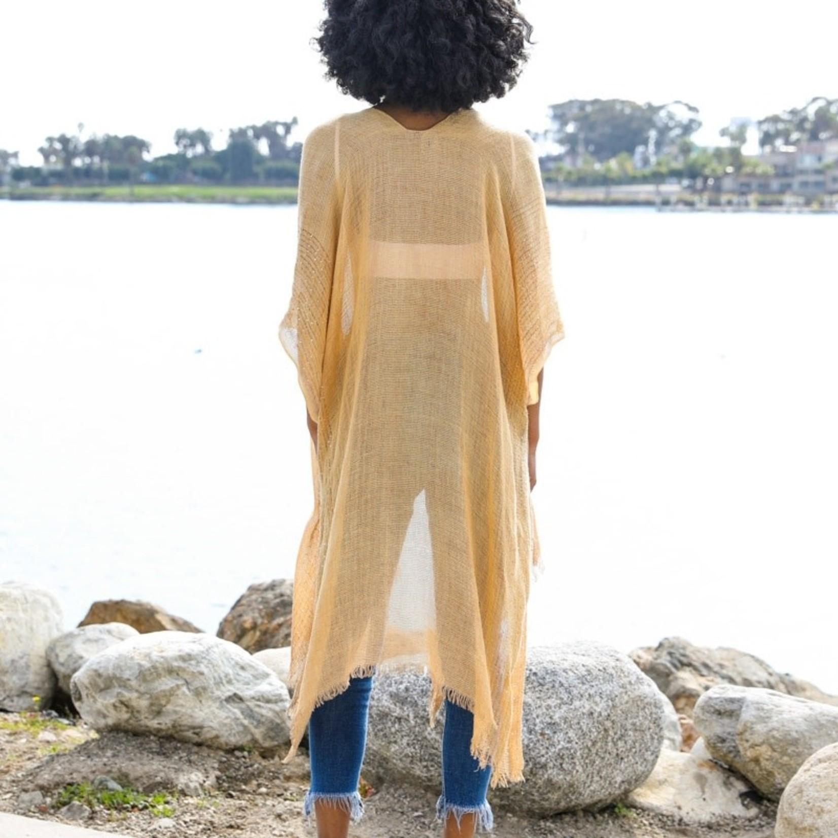 Leto Accessories Sequin Border Frayed Trim Kimono in Gold