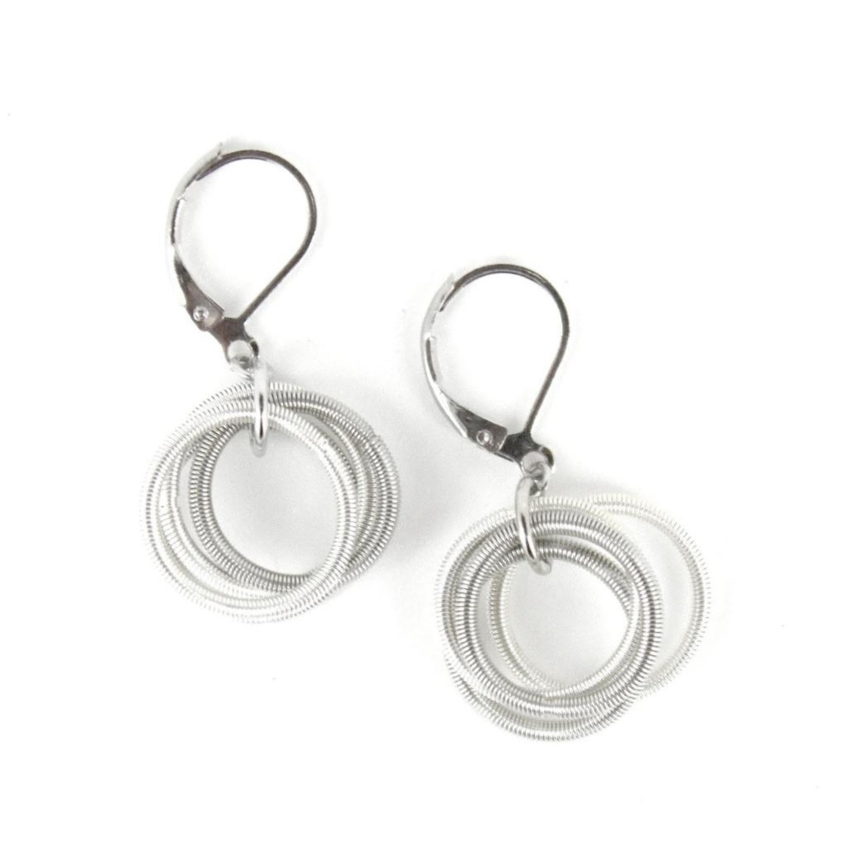 Sea Lily Silver and White PW Hoop Earrings