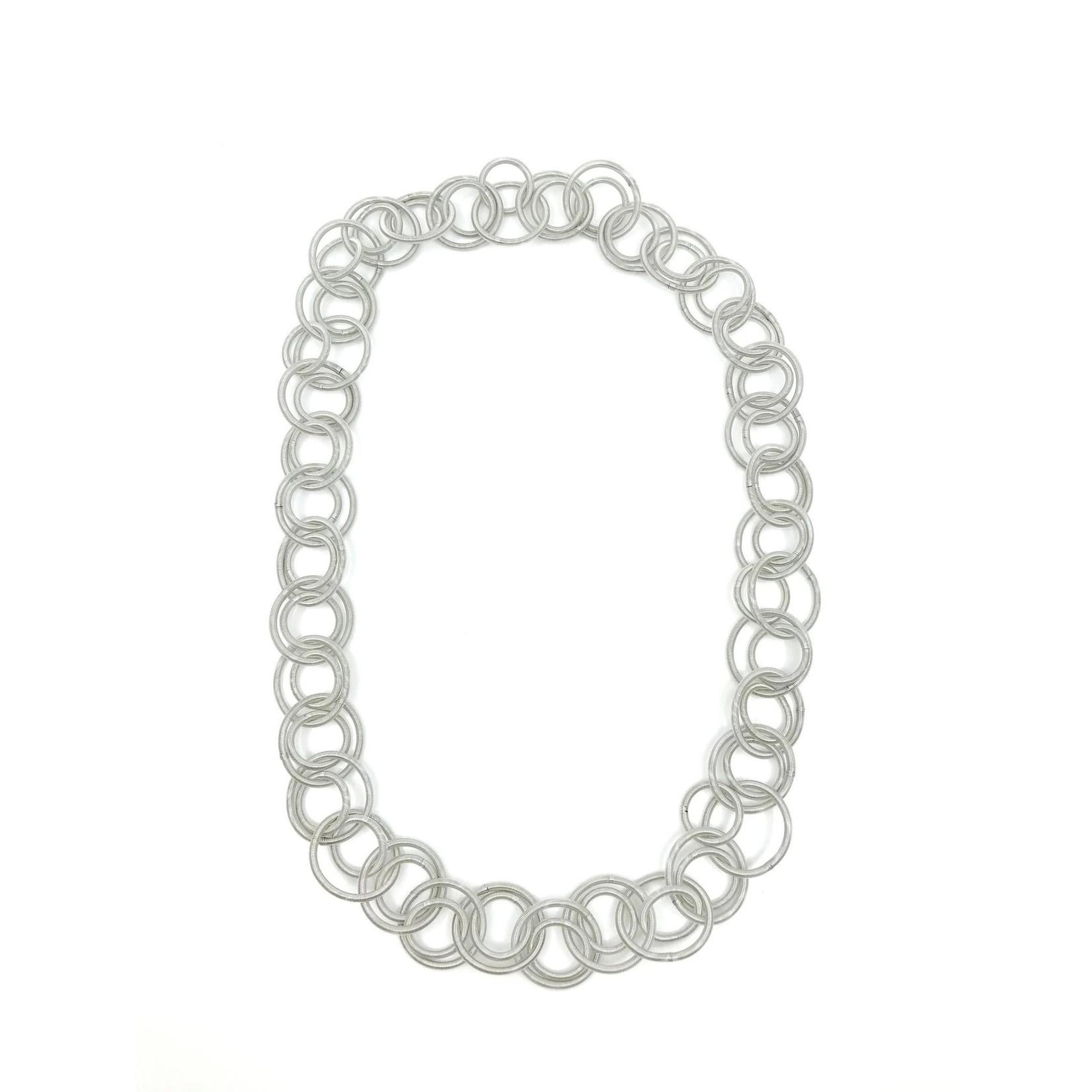 Sea Lily Silver Long Multi Loop Necklace