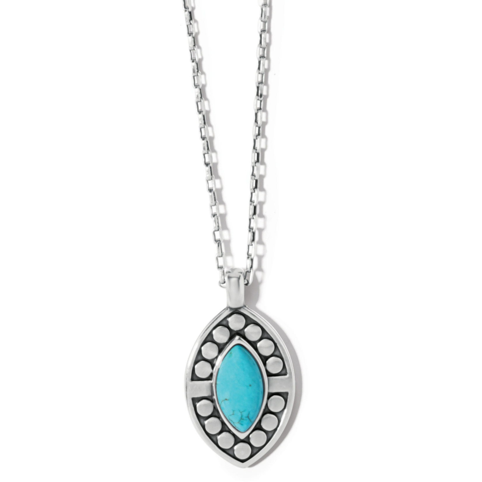 Brighton Pebble Dot Dream Short Necklace - Silver-Turquoise, OS