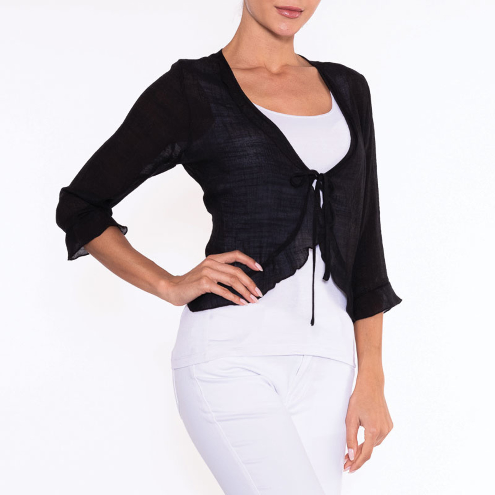 Woven Sheer Cardigan w/ Center Tie and Ruffle Details
