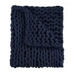 Navy Chenille Chunky Knit Throw