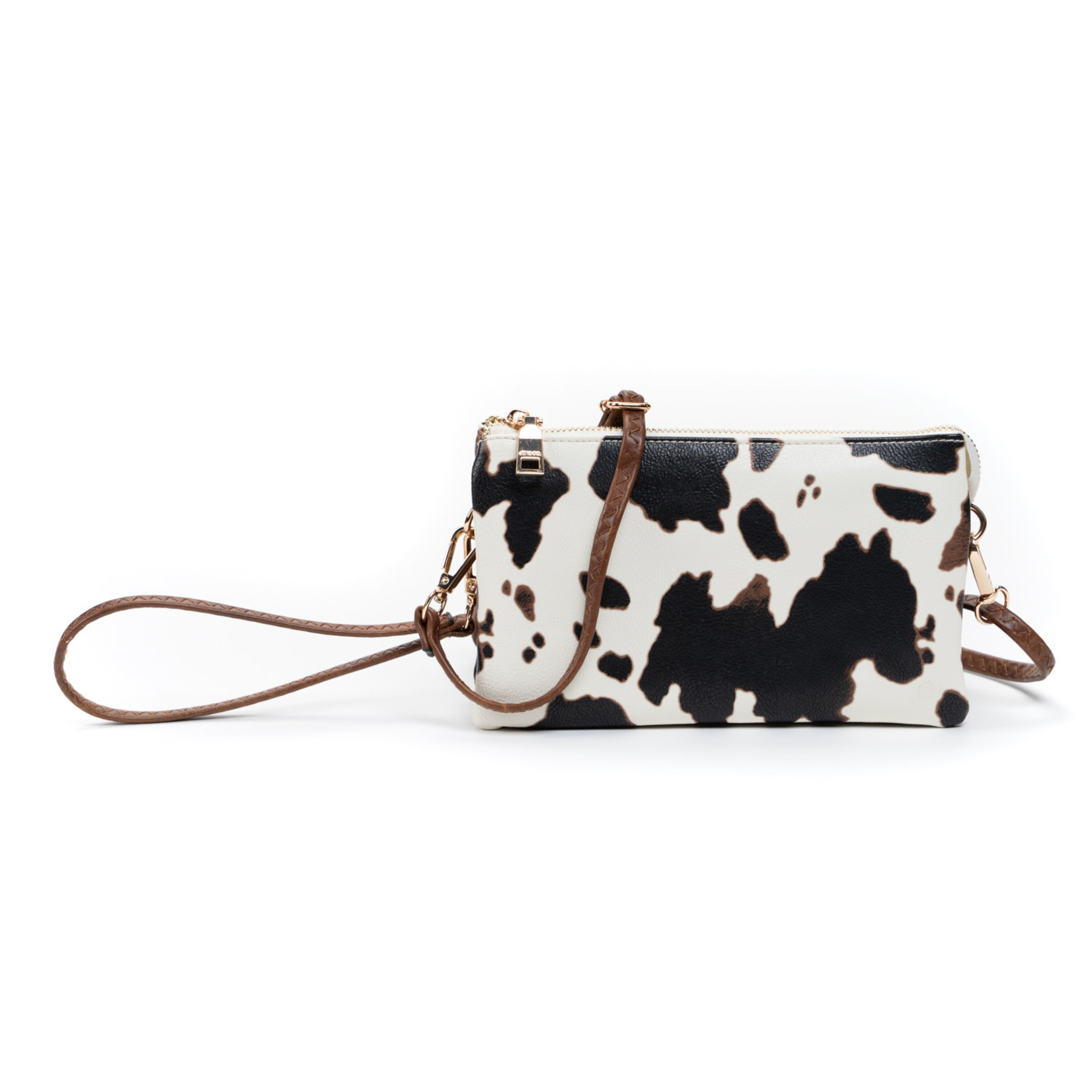 Riley Vegan Lthr Dbl Sided Wristlet/Crossbody - Cow White
