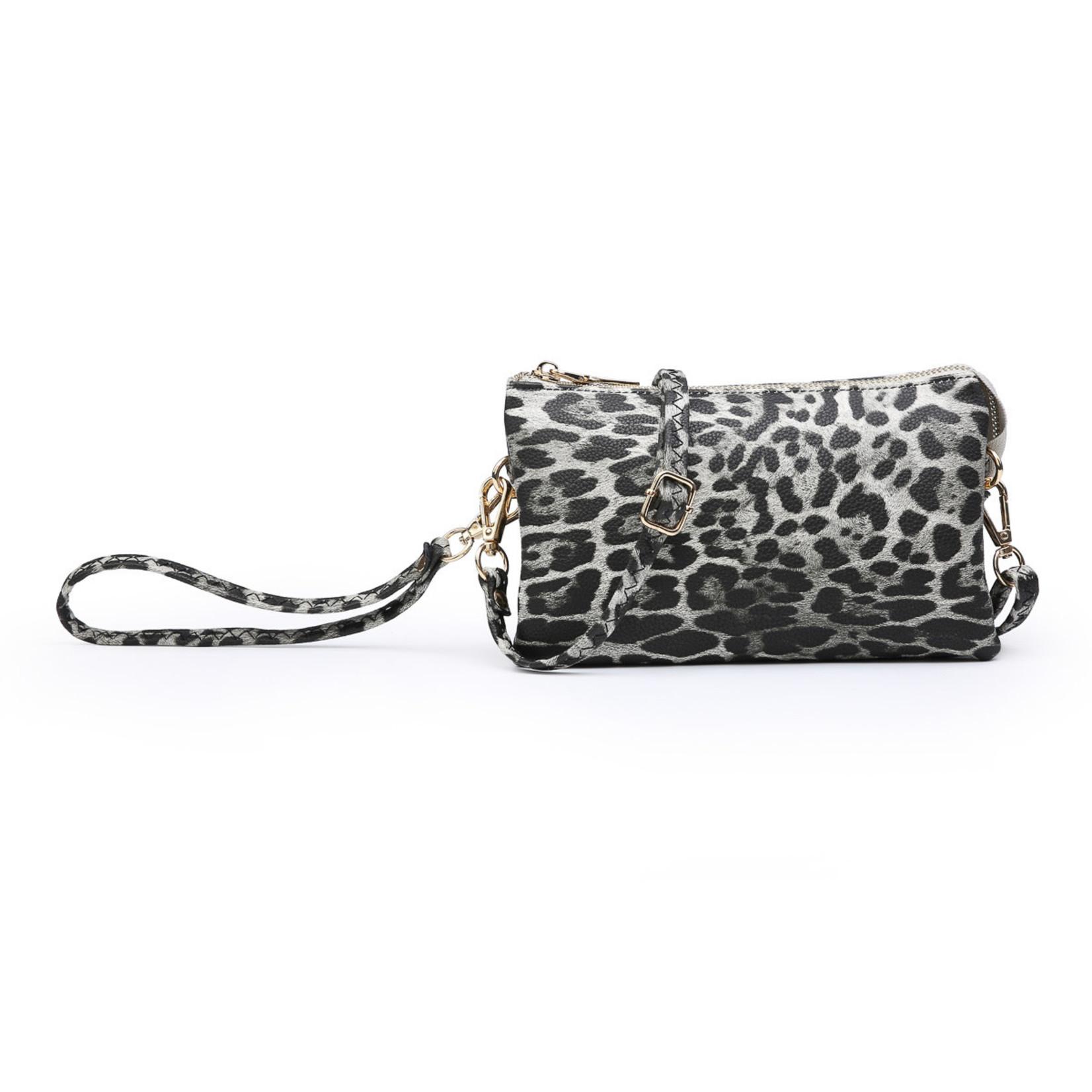Riley Vegan Lthr Dbl Sided Wristlet/Crossbody - Cheetah Grey