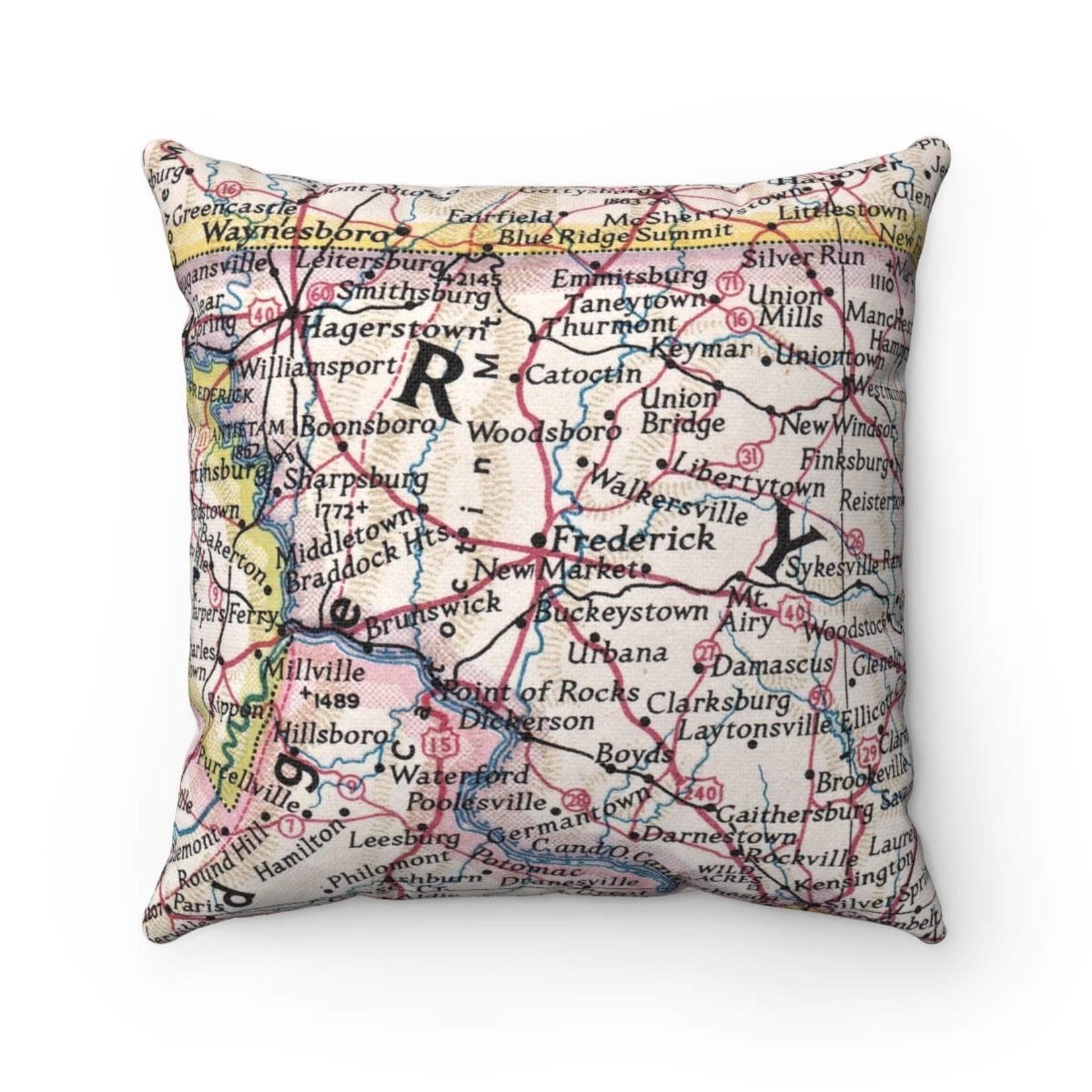 Custom Frederick, MD Map Pillow