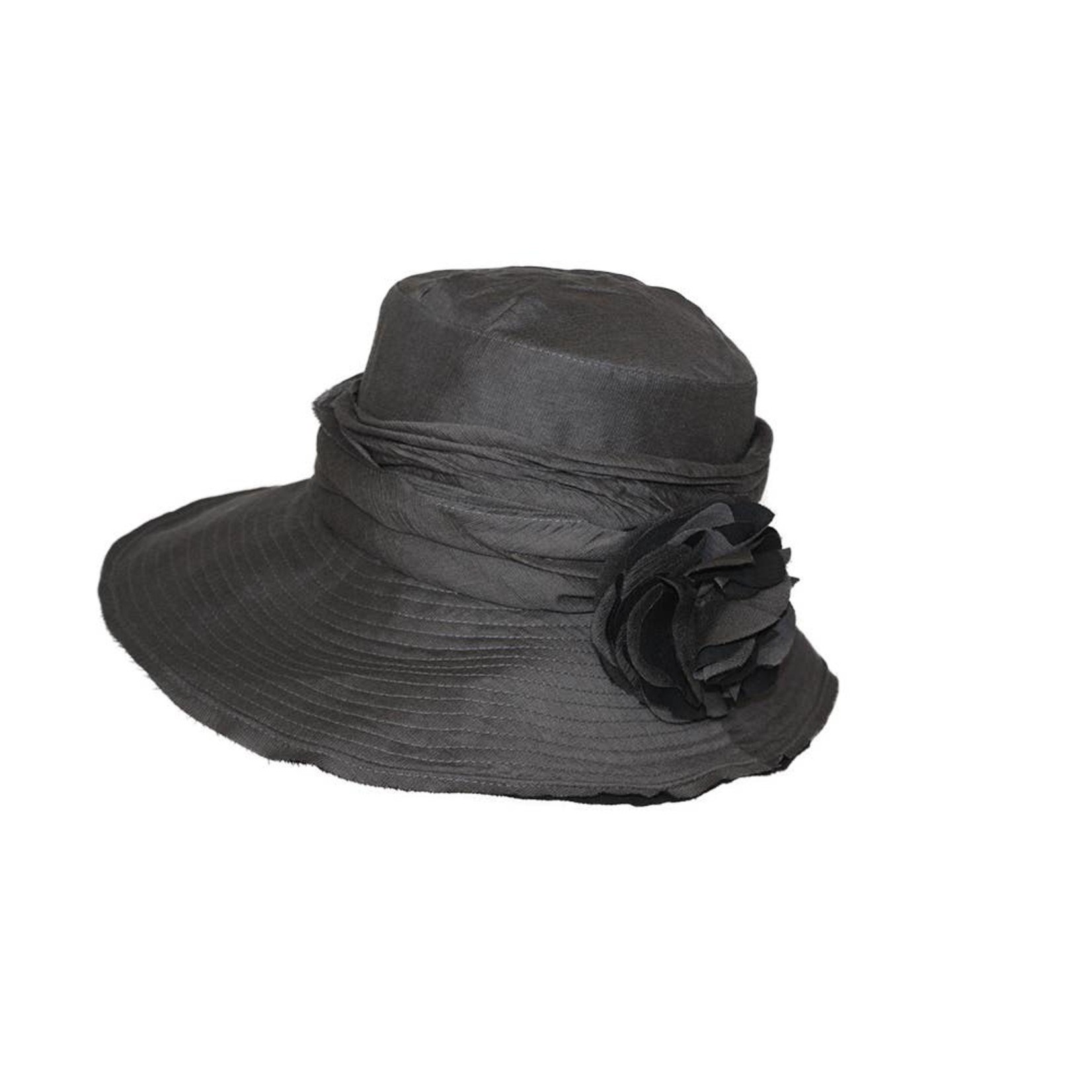 Jeanne Simmons Charcoal Hat w/ Slanted Brim and Pleated Flower
