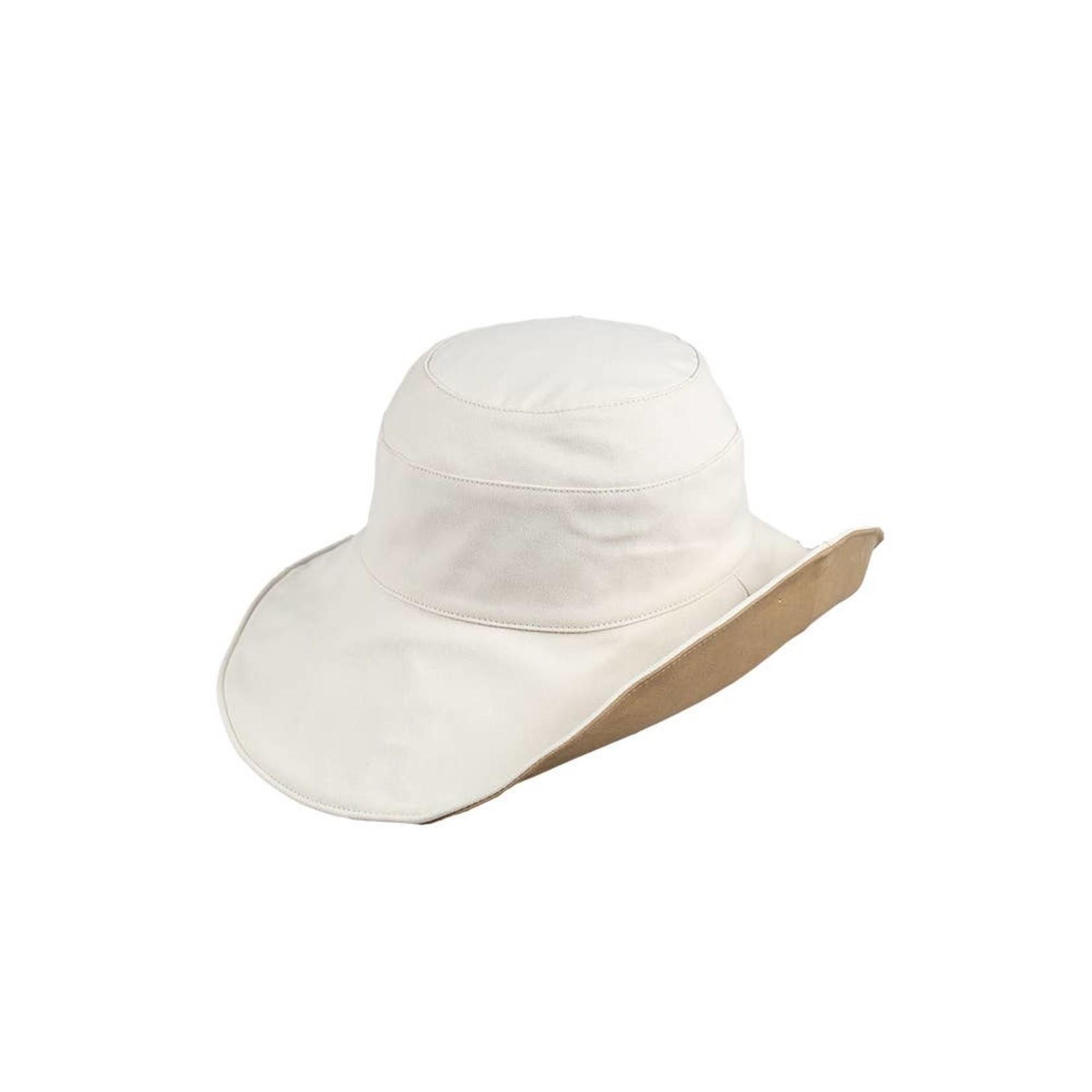 Jeanne Simmons Reversible Cloth Hat Cream/Tan