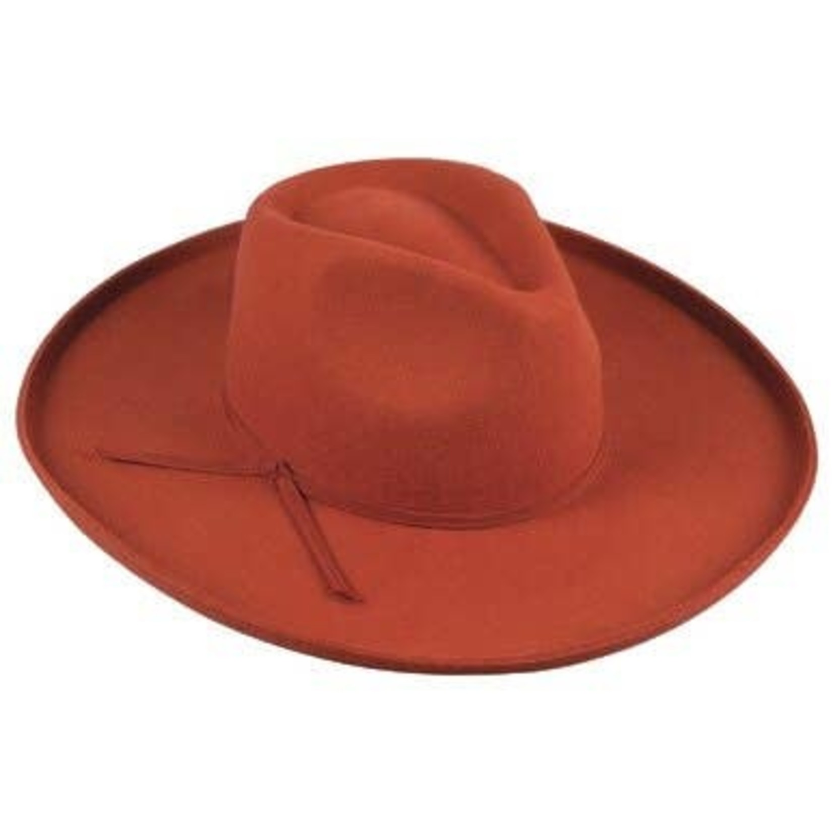 Jeanne Simmons Rust Wool Felt Kettle Brim Pinch Fedora Crn Hat