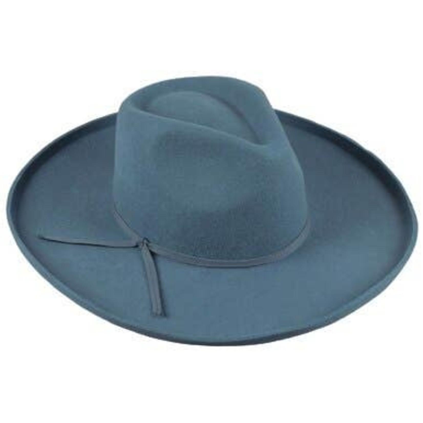Jeanne Simmons Blue Wool Felt Kettle Brim Pinch Fedora Crn Hat