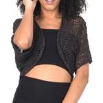 Suzie Blue Canada Popcorn Knit Bolero in Black